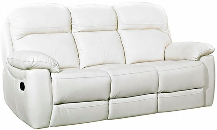 Clearance Half Price - Aston Ivory Leather 3 Seater Recliner Sofa - New - FS299