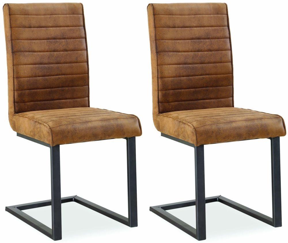 Clearance Half Price - Corndell Oak Mill Faux Leather Dining Chair (Pair) - New - FS209