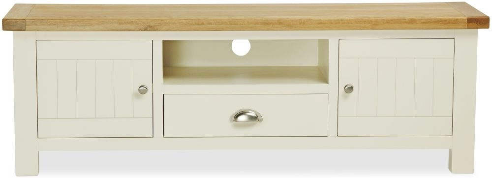 Clearance Half Price - Global Home Suffolk Oak and Buttermilk Painted TV Unit - New - FS337