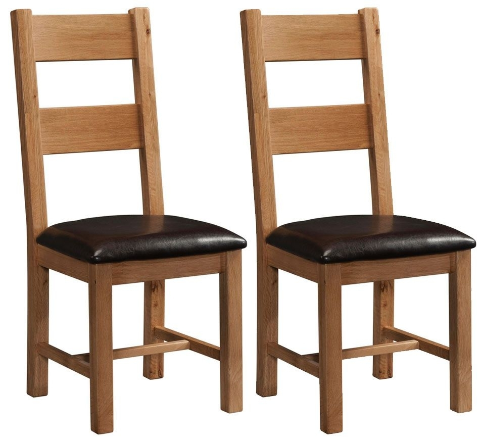 Clearance Half Price - Devonshire Rustic Oak Ladder Back Dining Chair (Pair) - New - 4019
