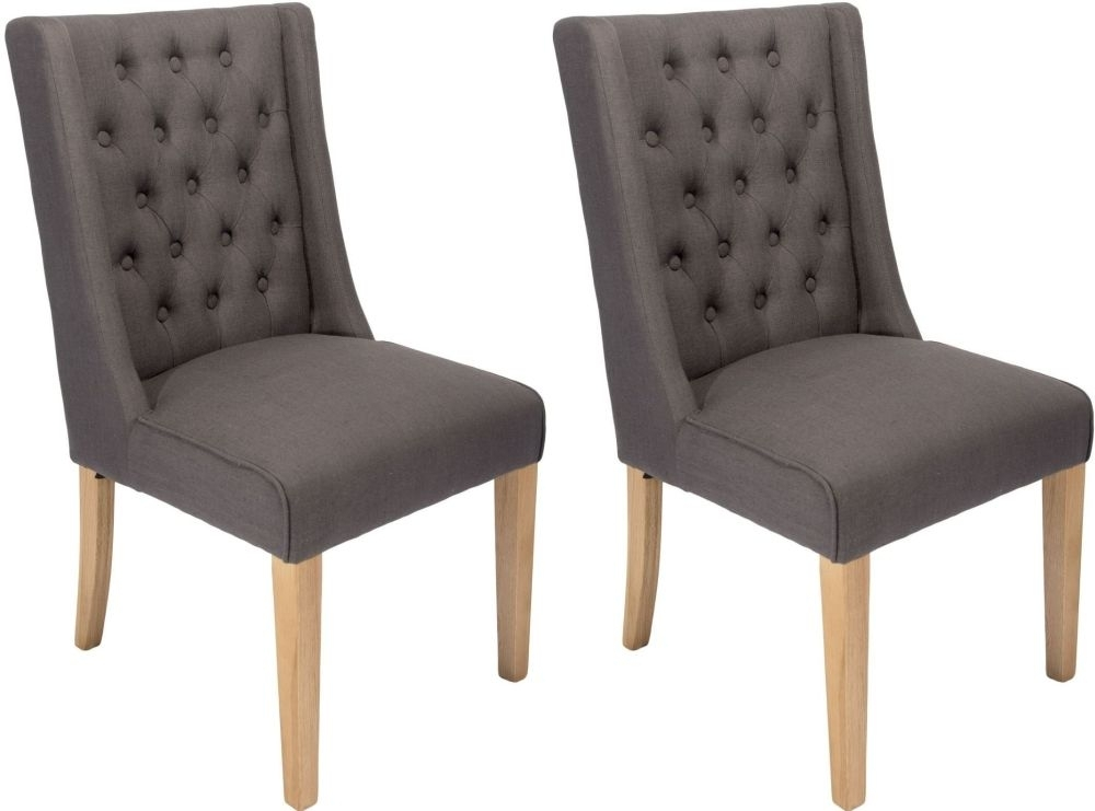 Clearance Half Price - Luxor Slate Fabric Dining Chair (Pair) - New - 4093