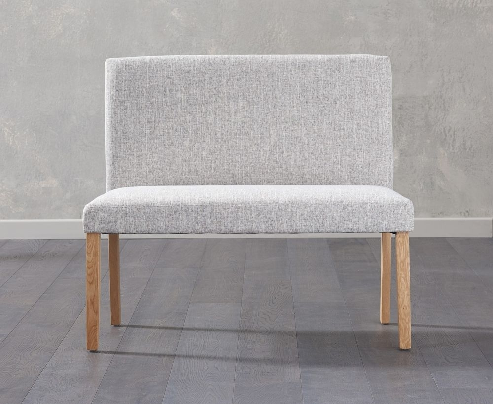 Clearance Half Price - Mark Harris Maiya Grey Plush Fabric Small Bench with Back - New - 4108
