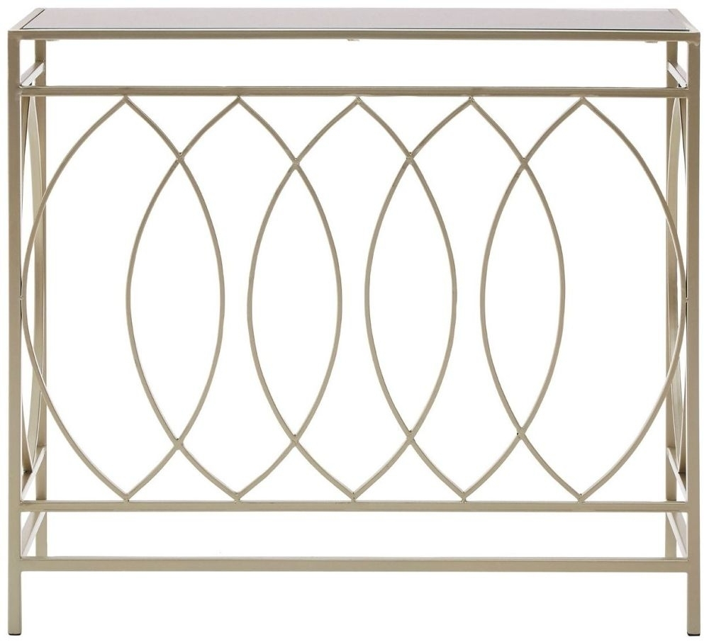 Clearance - Avantis Console Table - Champagne Metal and Mirrored Glass - New - A-188