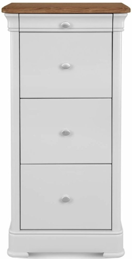 Clearance - Clemence Richard Moreno Old English White Painted Tall Filing Cabinet - New - C-39