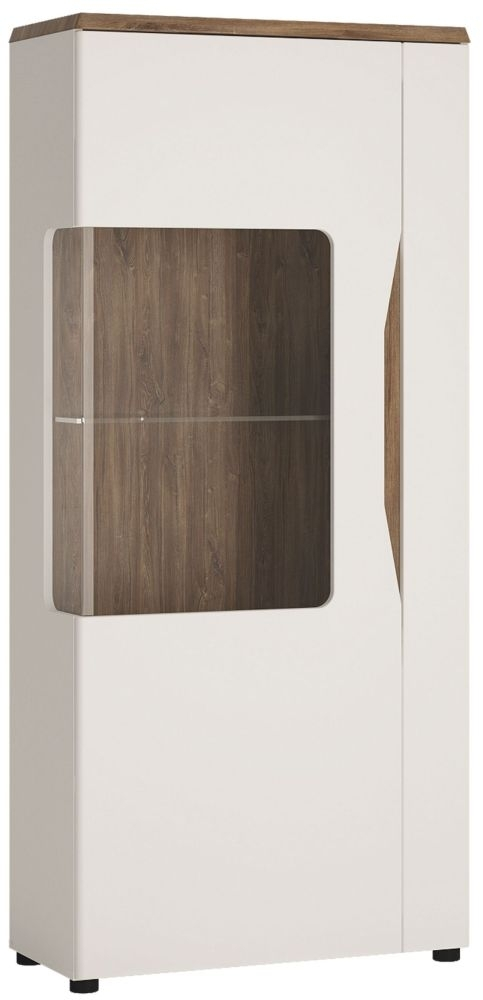 Clearance - Toledo Left Hand Facing Display Cabinet - Oak and High Gloss White - New - C-44