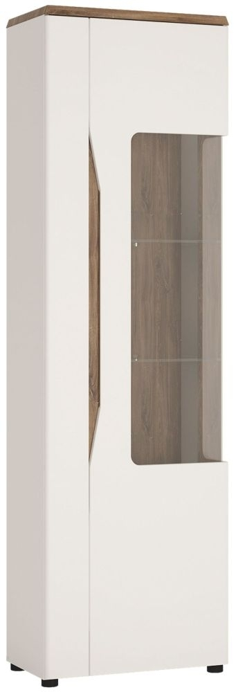 Clearance - Toledo Right Hand Facing Tall Display Cabinet - Oak and High Gloss White - New - C-42