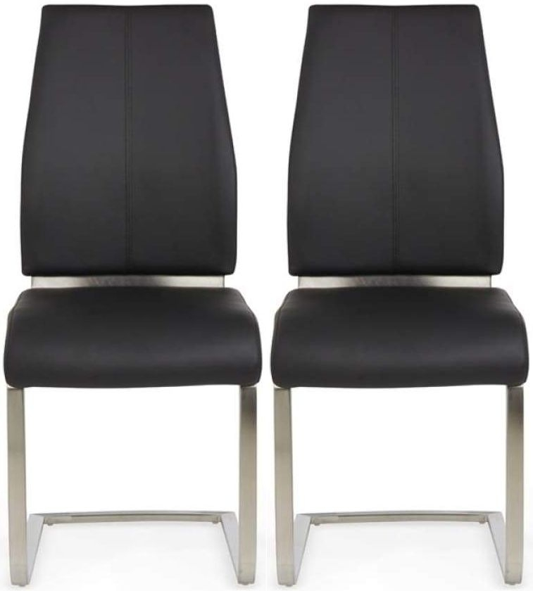 Clearance - Serene Alicante Black Faux Leather Dining Chair (Pair) - New - FS516