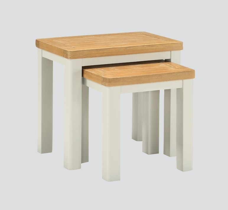 Clearance - Andorra Nest of Tables - Oak and Stone Painted - New - E-66