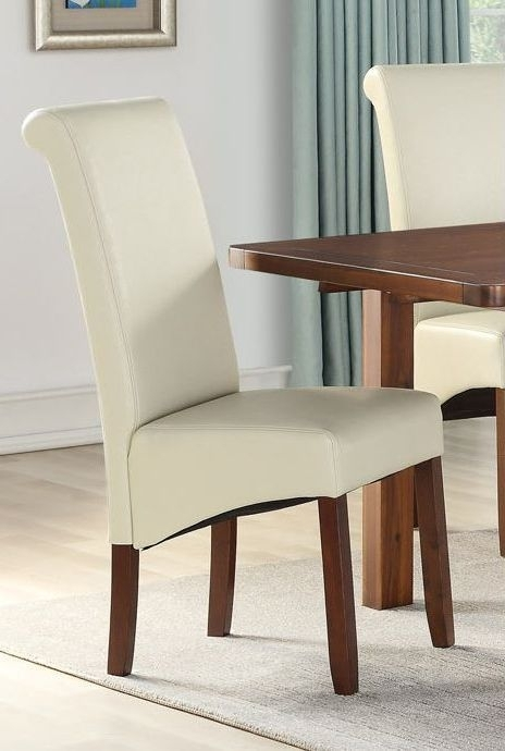 Clearance - Sophie Cream Faux Leather Dining Chair (Pair) - New - E-68