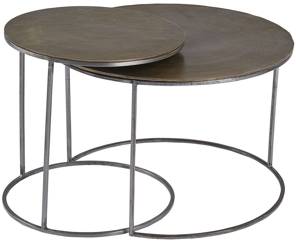 Clearance - Plano Vintage Brass Top Round Nest of 2 Coffee Table - New - E-100