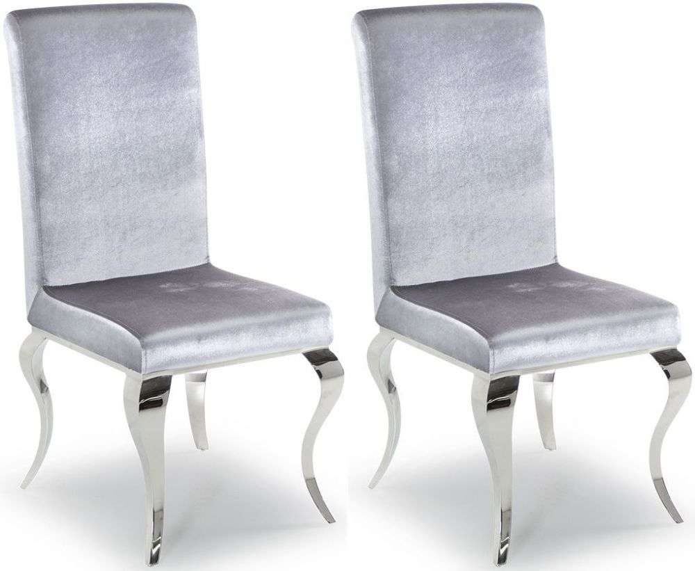 Clearance - Vida Living Louis Silver Fabric Dining Chair (Pair) - New - E-291