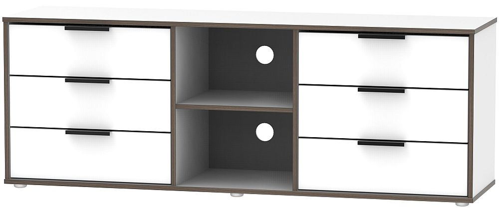 Clearance - Hong Kong White 6 Drawer TV Unit with Glides Legs - New - FS1185