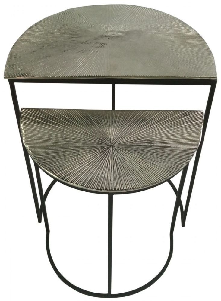 Clearance - Hatley Half Moon Nest of Tables - Black Metal and Nickel - New - FSS8755