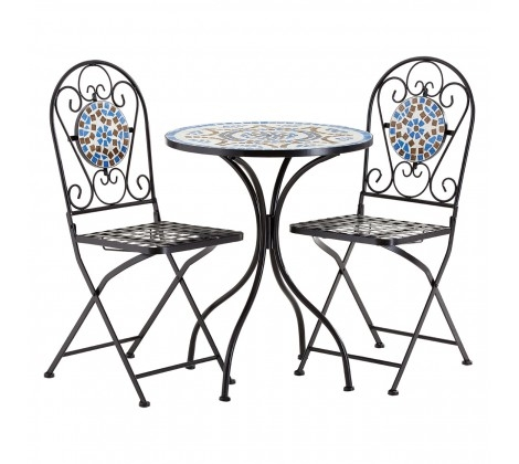 Clearance - Amalfi Blue and White Tone Dining Table and 2 Chairs - New - E-424