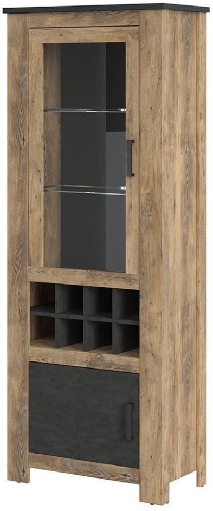 Clearance - Rapallo Chestnut and Matera Grey 2 Door Display Cabinet with Wine Rack - New - FSS8941