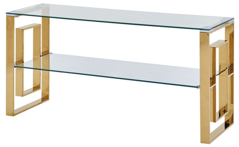 Clearance - Platini Gold and Glass TV Unit - New - FSS9028