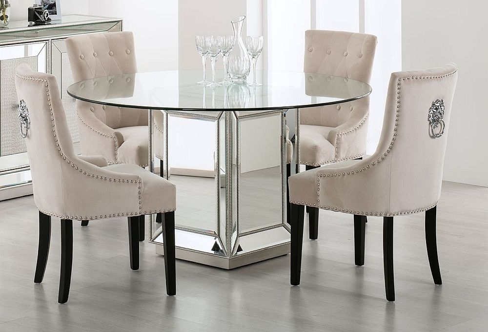 Clearance - Preston Mirrored Round Dining Table - New - E-618