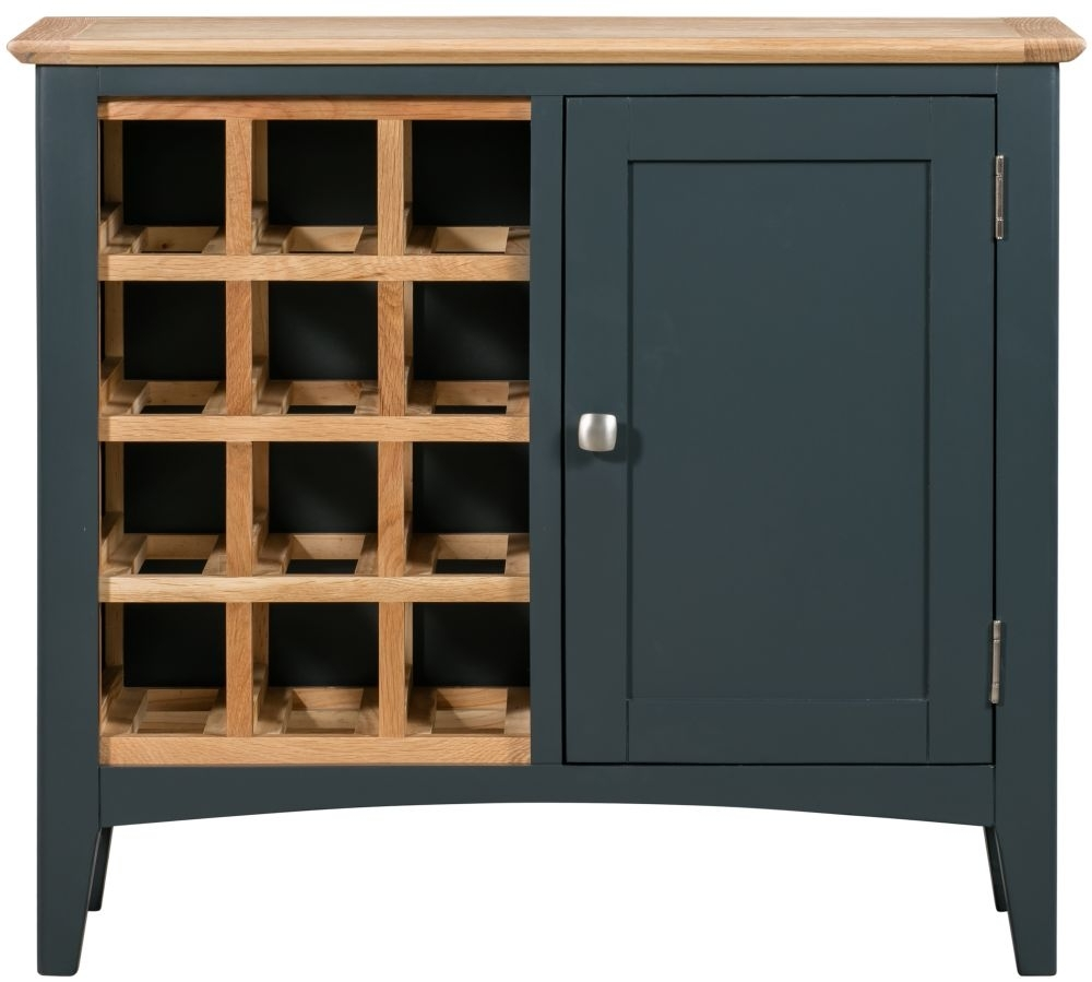 Clearance - Lowell Oak and Blue Painted Wine Cabinet - New - E-639