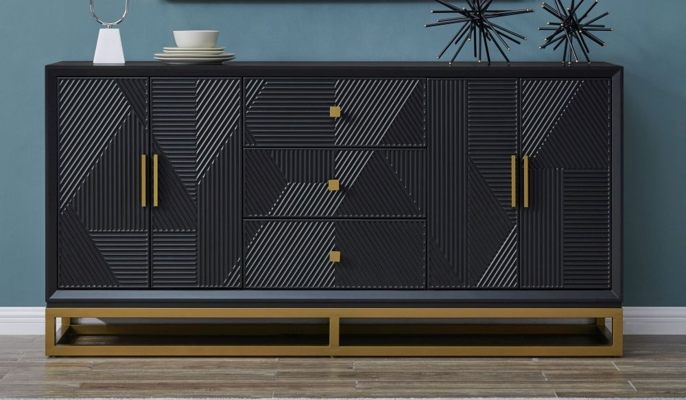 Clearance - Oundle Black Geometric Design 4 Door 3 Drawer Sideboard - New - E-677