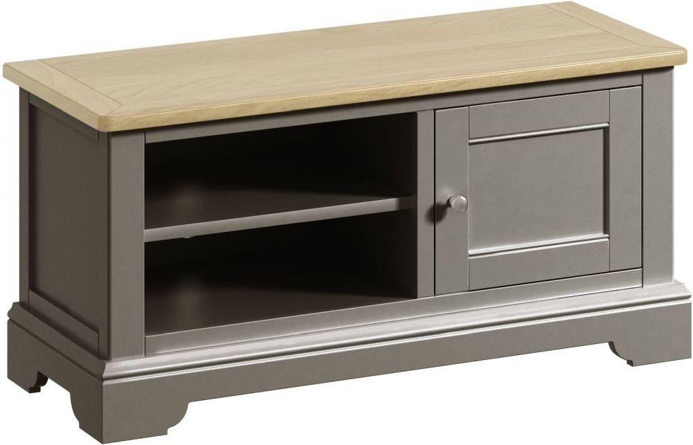 Clearance - Harmony Oak and Grey Painted TV Unit - New - E-714