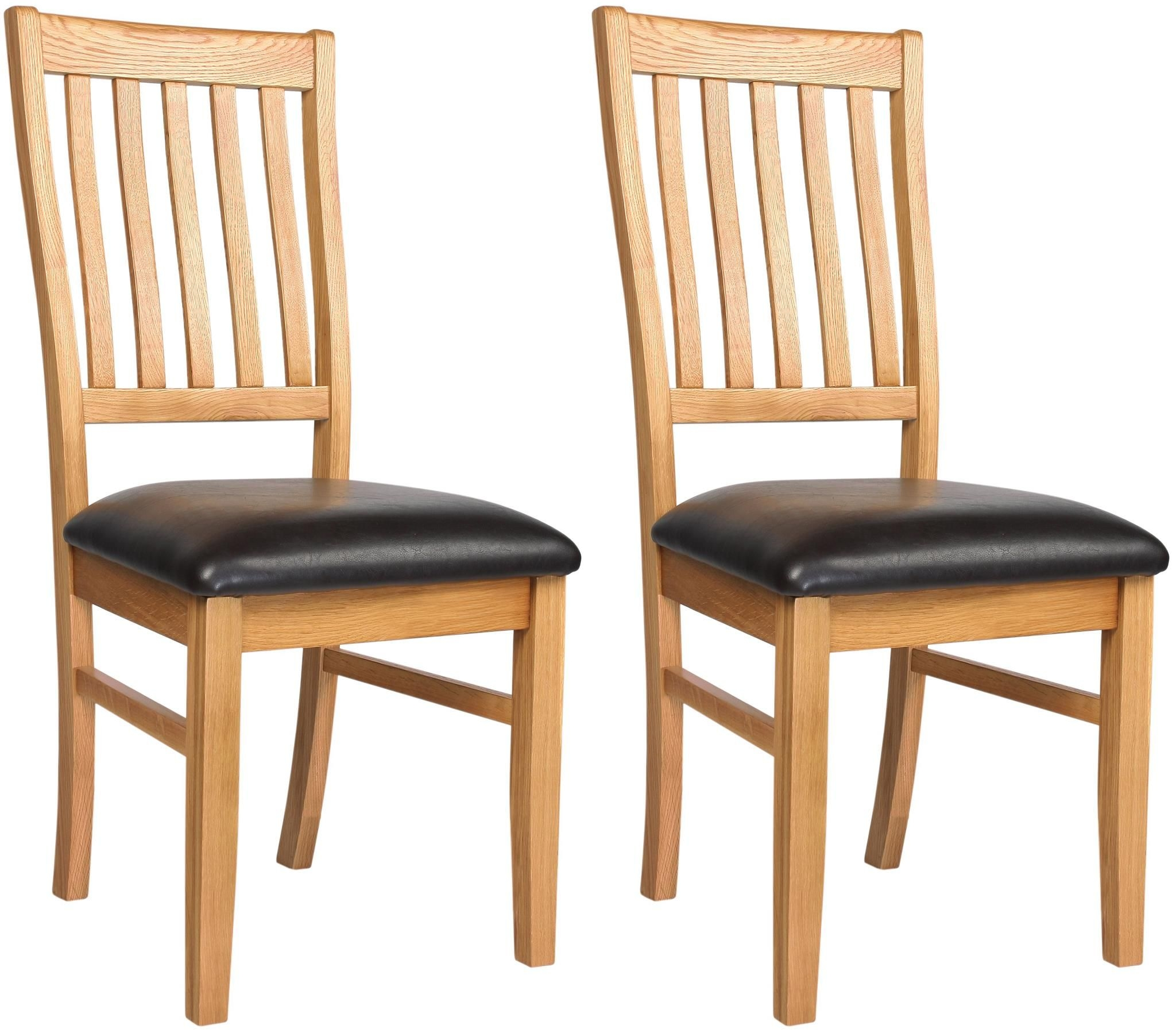 Clearance Half Price - Ametis Croft Oak Dining Chair (Pair) - New - A38