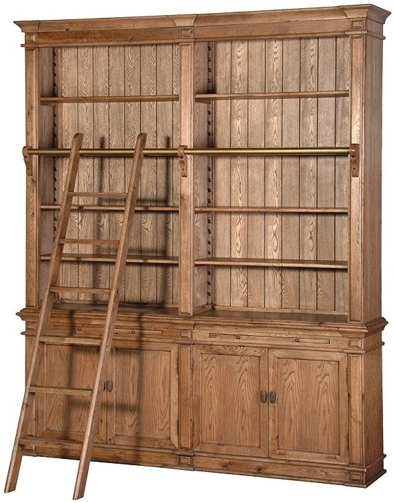 Clearance Antiqued Oak Library Bookcase with Ladder - SD1
