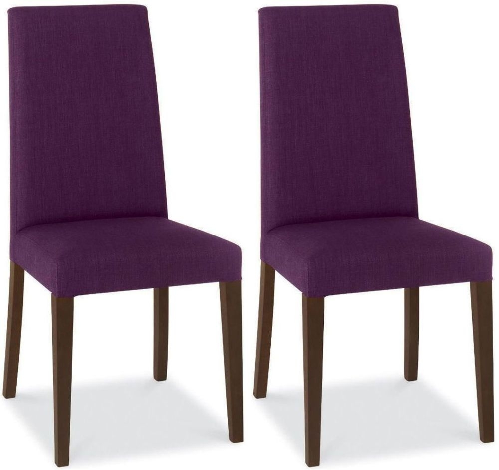 Clearance Bentley Designs Miles Walnut Dining Chair - Plum Taper Back (Pair) - 3060