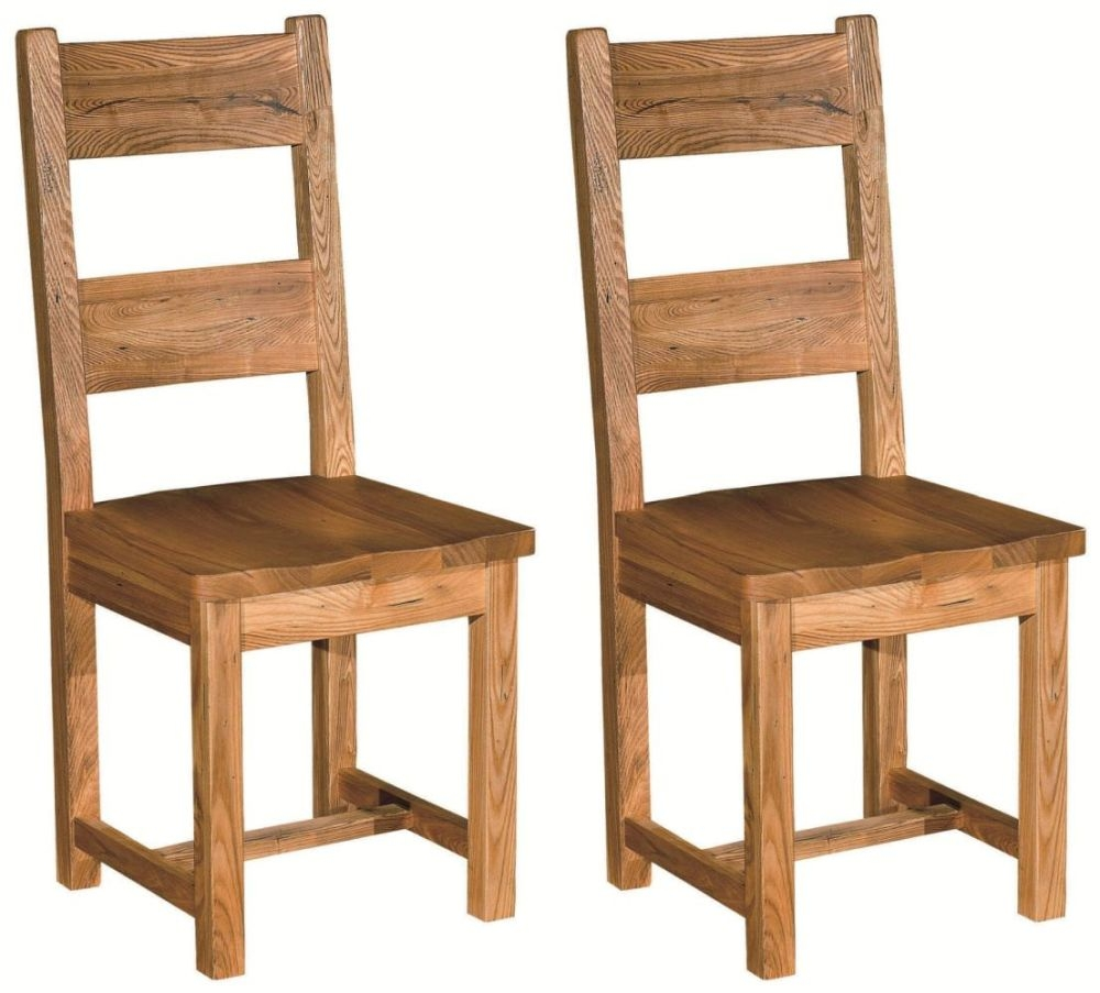 Bordeaux Rustic Oak Dining Chair (Pair) - Ladderback with Wooden Seat - CL-C9