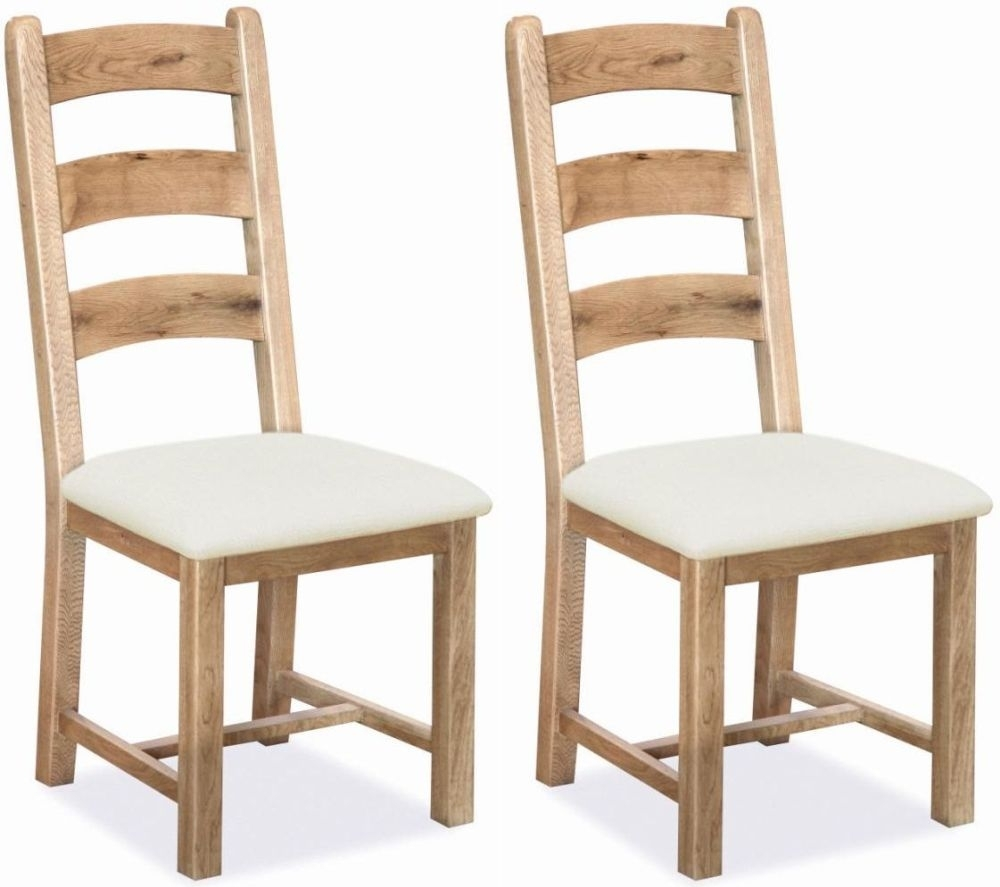 Clearance Half Price - Corndell Fairford Light Oiled Oak Dining Chair with Fabric Seat (Pair) - New - 613