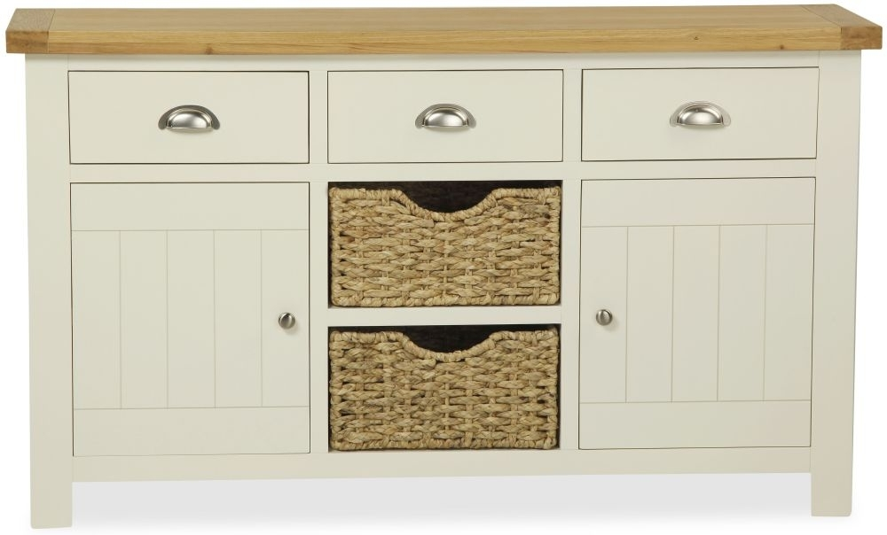 Clearance Global Home Oxford Painted Sideboard - Large Medium 2 Door 3 Drawer with 2 Baskets - C5
