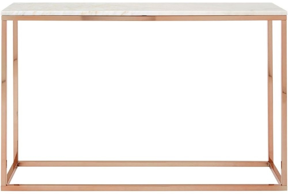 Product photograph showing Clearance Half Price - Allure White Marble Console Table With Rose Gold Metal Base - Rectangular - New - T136