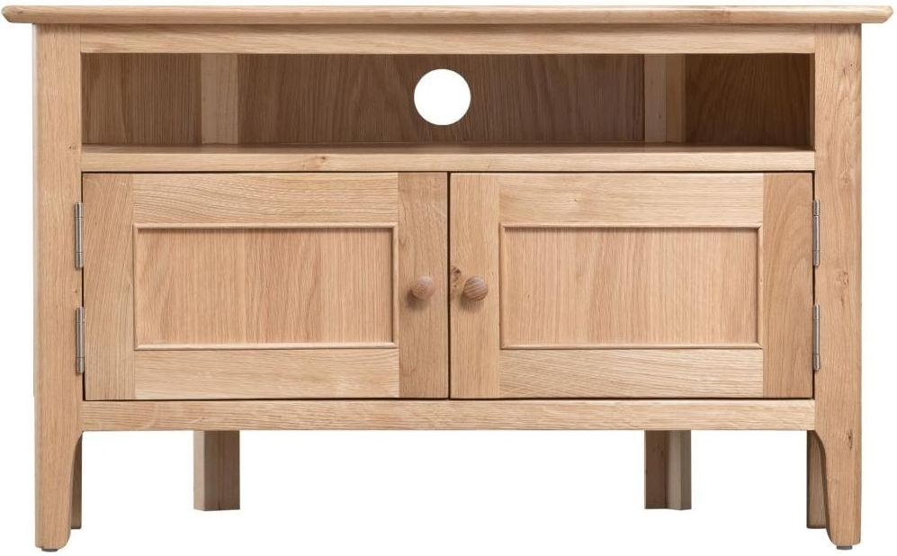 Clearance Half Price - Appleby Natural Oak 2 Door Corner TV Cabinet - New - T001