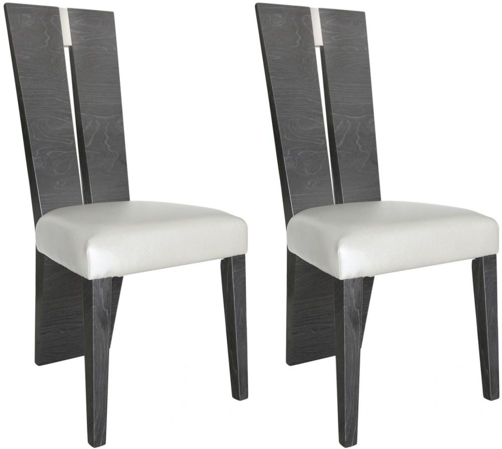 Clearance Half Price - Caria Dark Grey Walnut Dining Chair (Pair) - New - Z1076