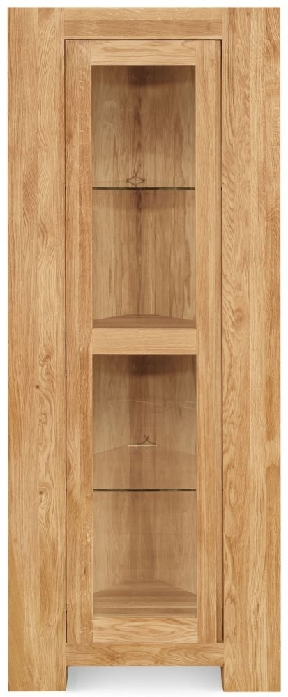 Clearance Half Price - Clemence Richard Massive Oak Tall Corner Display Cabinet with Light - New - T141