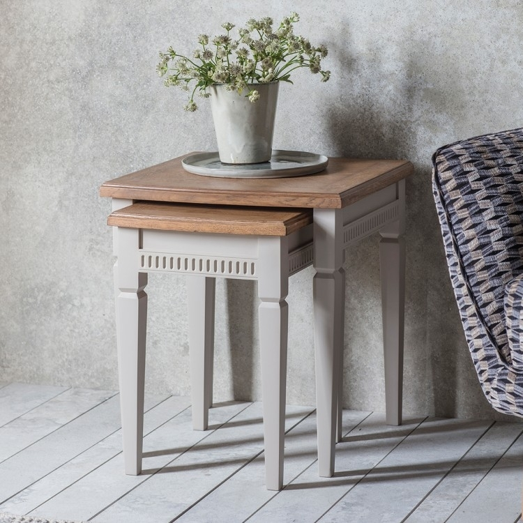 Clearance - Gallery Direct Bronte Nest of 2 Tables - Taupe - New - D179