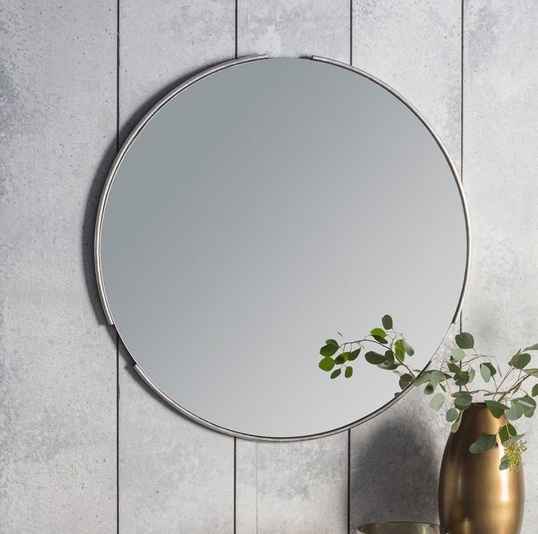 Clearance - Gallery Direct Fitzroy Round Mirror Silver 80cm x 80cm - New - D154