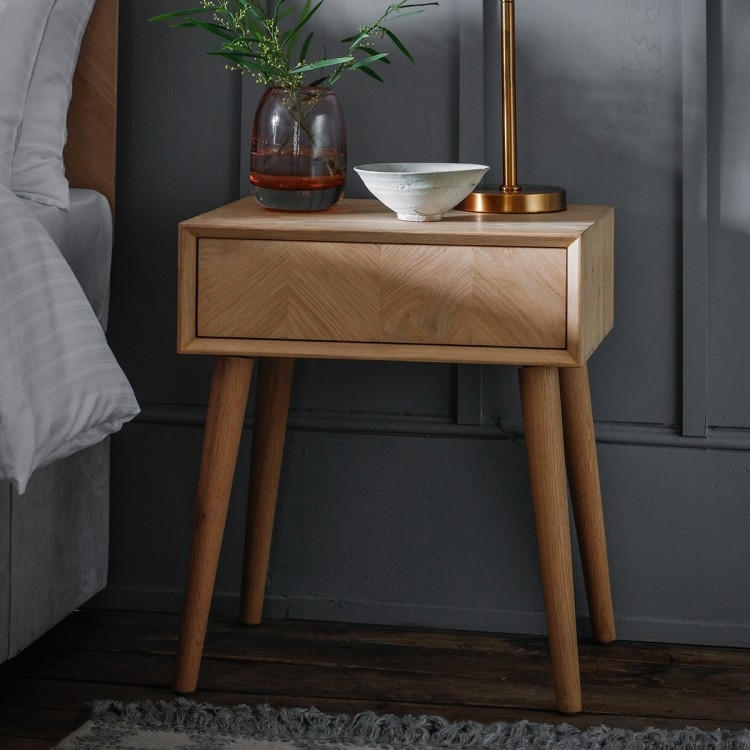 Clearance Half Price - Gallery Direct Milano 1 Drawer Side Table - Oak - New - T107