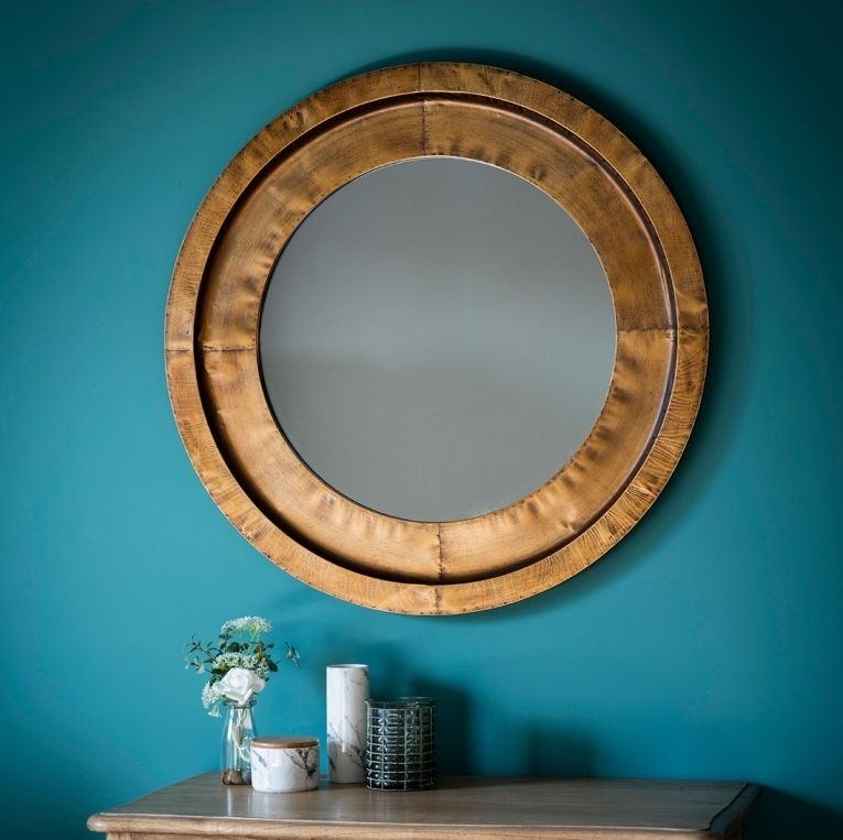 Clearance Half Price - Gallery Direct Moorley Round Mirror - Gold 87cm x 87cm - New - T092