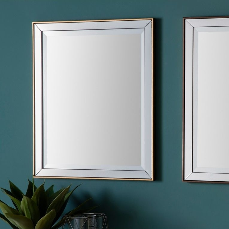 Clearance - Gallery Direct Powell Rectangular Mirror (Set of 4) Gold 50cm x 60cm - New - D196