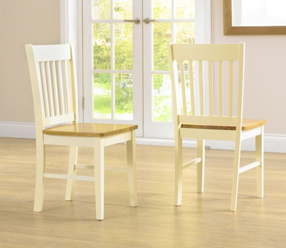 Product photograph showing Clearance Half Price - Genoa Oak And Cream Dining Chair Pair - New - Gr42