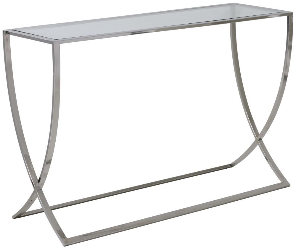 Clearance Half Price - Molina Large Console Table Glass and Nickel - New - Z1048