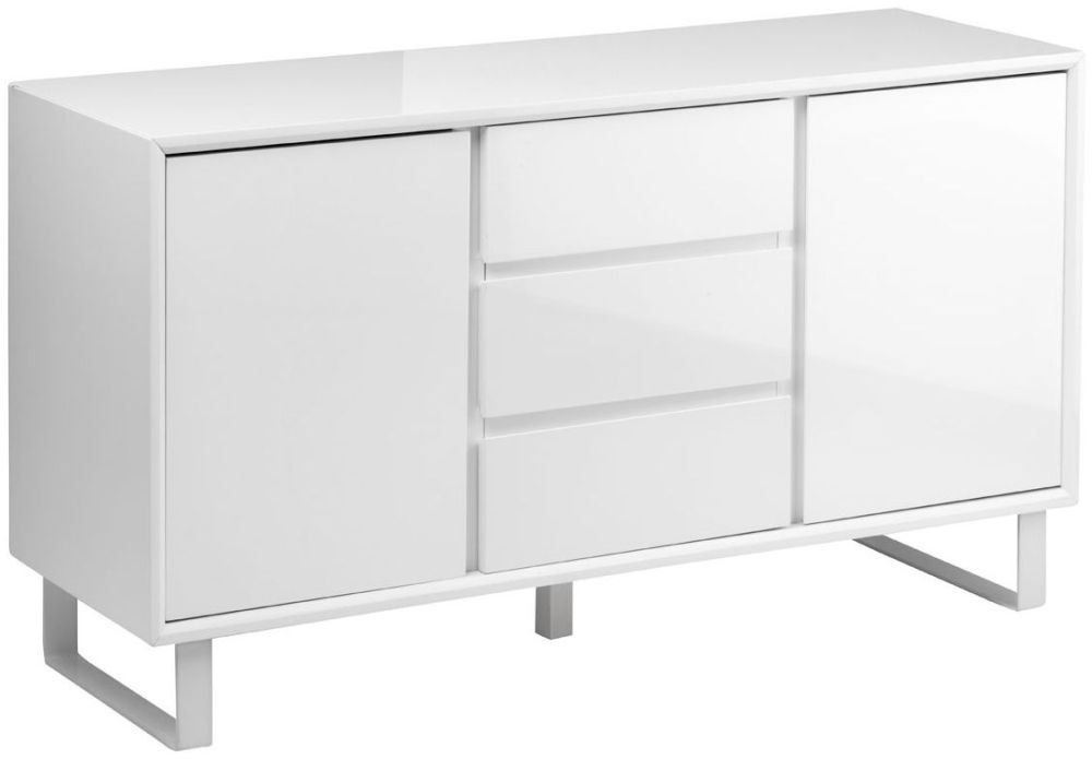 Clearance Half Price - Moritz White High Gloss Sideboard - New - T133