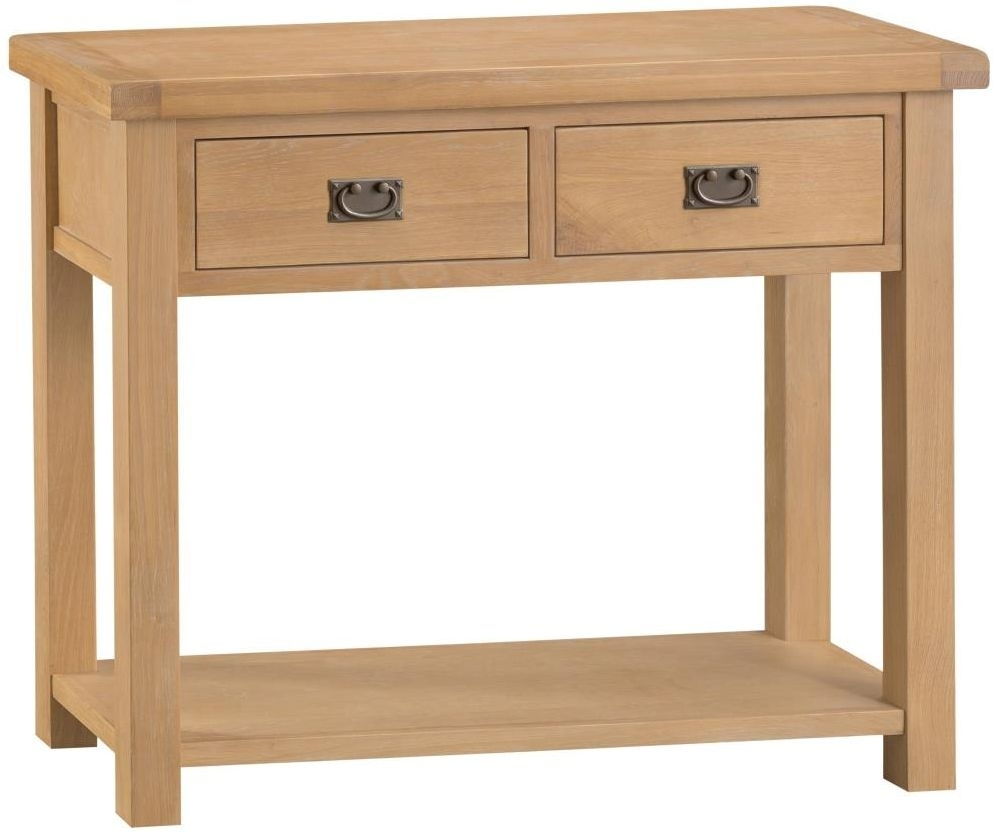 Clearance Half Price - Tucson Oak 2 Drawer Console Table - New - T011