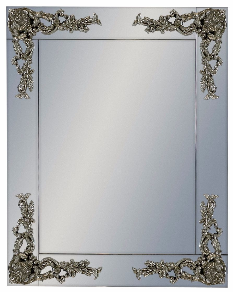 Clearance Half Price - Rectangular Frameless Mirror with Metallic Corner Detail - New - T094