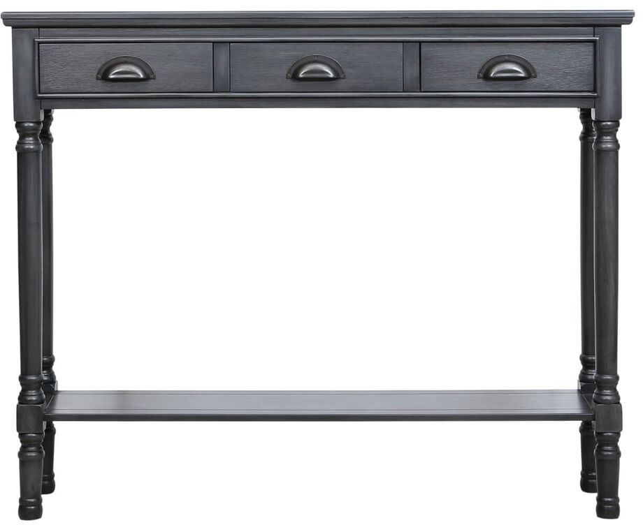 Clearance Half Price - Serra Grey 3 Drawer Console Table - New - Z1073