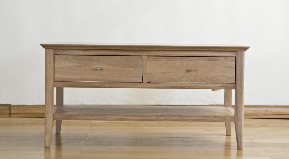 Clearance Half Price - Sorrento Solid Oak 2 Drawer Storage Coffee Table - New - T073