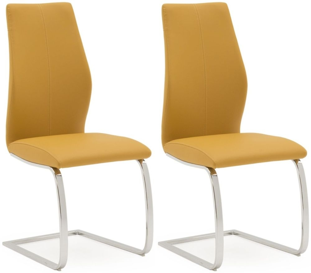 Clearance Half Price - Vida Living Elis Pumpkin Faux Leather Dining Chair (Pair) - New - T126