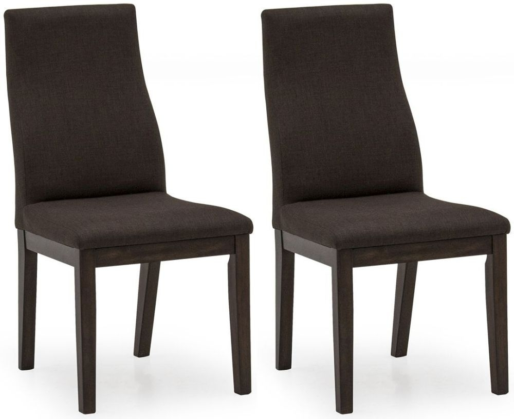 Clearance Half Price - Vida Living Gratiano Walnut Fabric Dining Chair (Pair) - New - T115