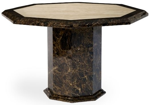 Clearance Mark Harris Toledo Octagonal Brown and Cream Marble Dining Table - 120cm - 2185