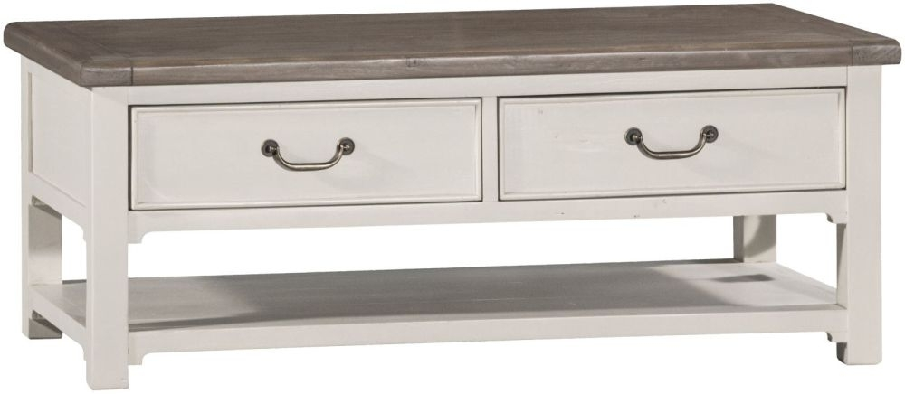 Clearance Naze Reclaimed Wood Storage Coffee Table - 2 Drawer - 2141